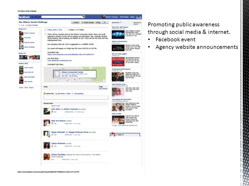 Promoting public awareness through social media & internet.