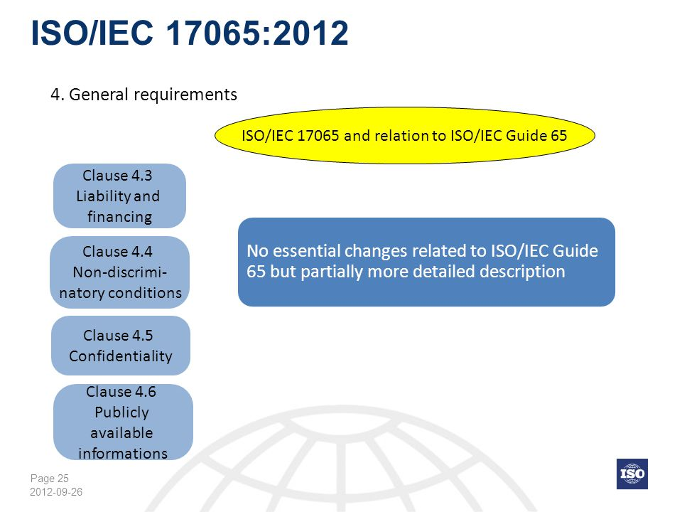 Page 25 ISO/IEC 17065:2012 2012-09-26 Clause 4.3 Liability and financing ISO/IEC 17065 and relation to ISO/IEC Guide 65 No essential changes related t