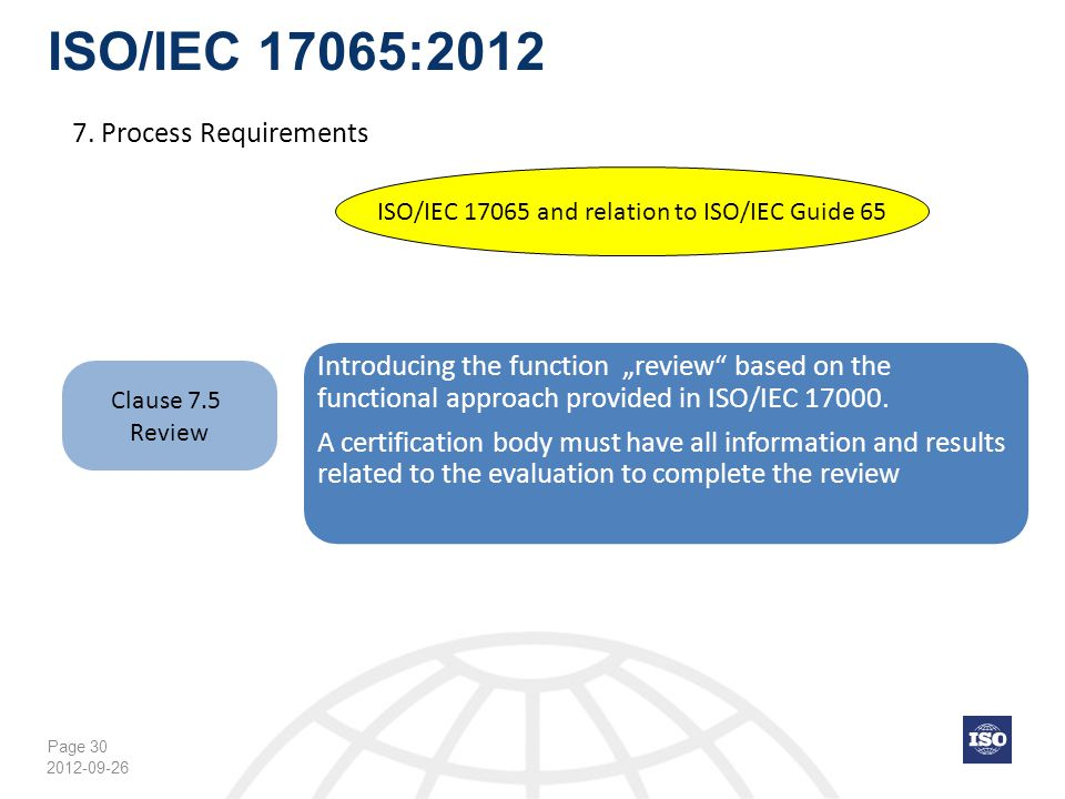 Page 30 ISO/IEC 17065:2012 2012-09-26 ISO/IEC 17065 and relation to ISO/IEC Guide 65 Clause 7.5 Review 7. Process Requirements Introducing the functio