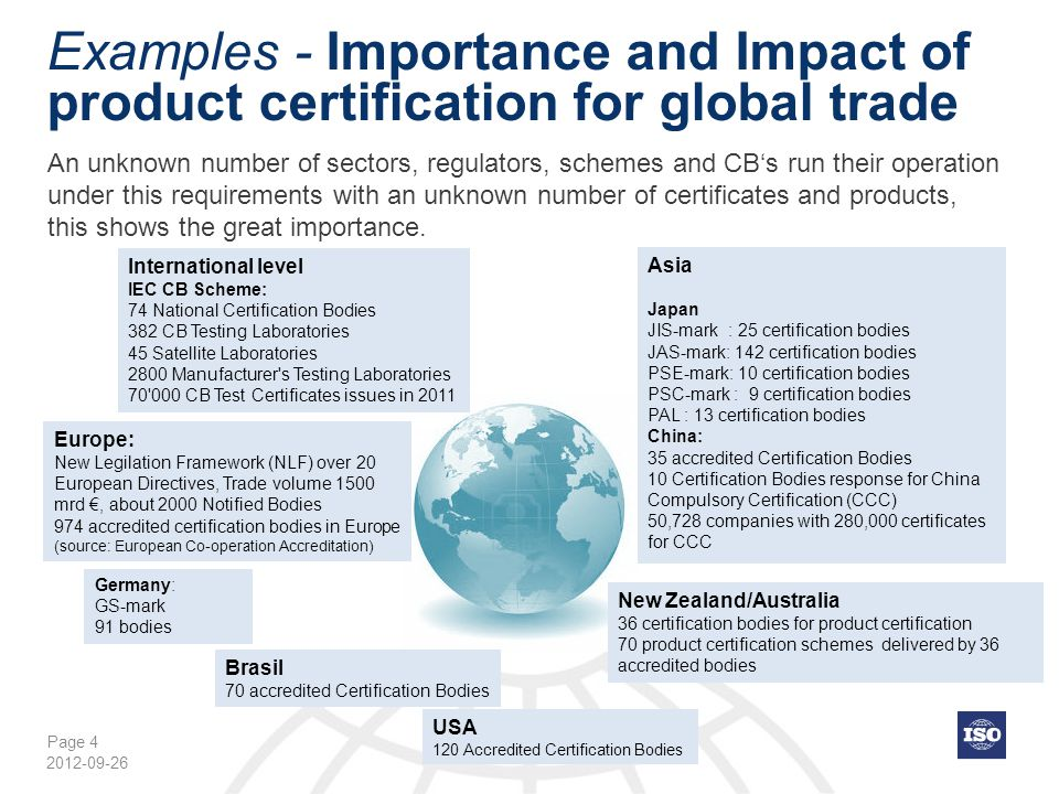 Page 4 Examples - Importance and Impact of product certification for global trade An unknown number of sectors, regulators, schemes and CB's run their