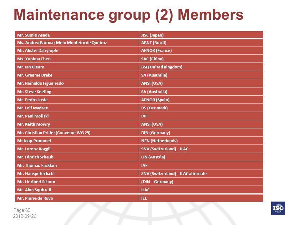 Page 65 Maintenance group (2) Members 2012-09-26 Mr. Sumio AsadaJISC (Japan) Ms. Andrea Barroso Melo Monteiro de QueirozABNT (Brazil) Mr. Alister Dalr