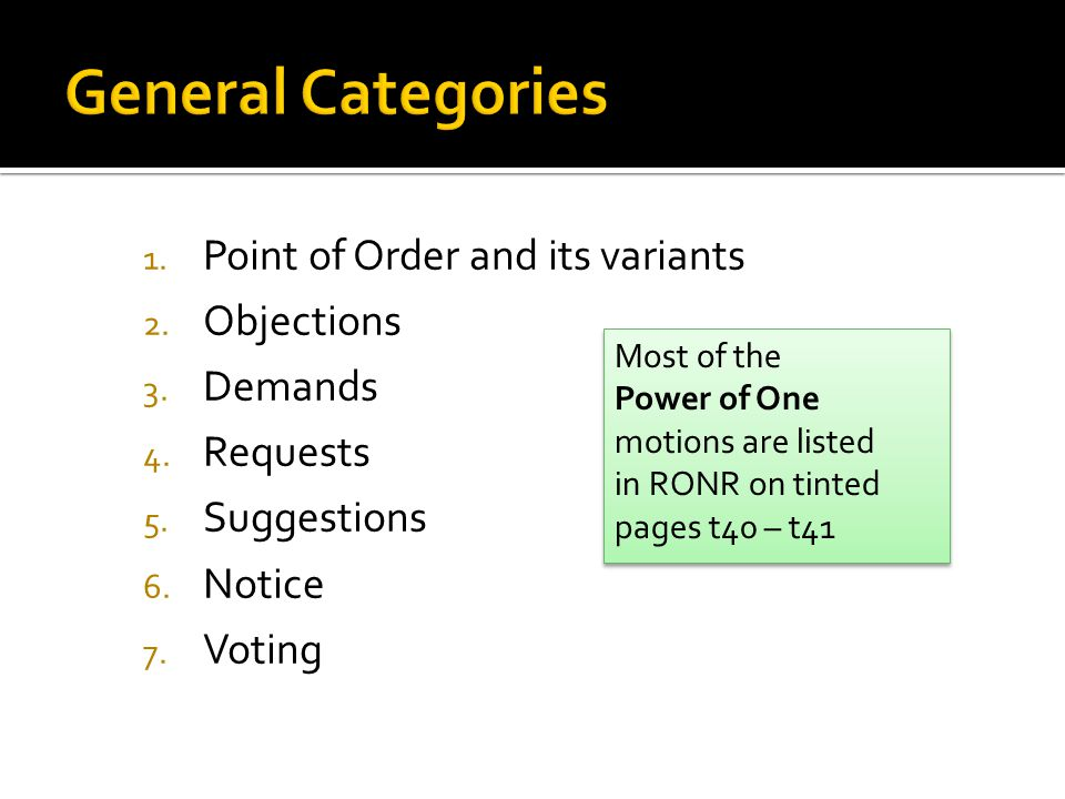 1. Point of Order and its variants 2. Objections 3.