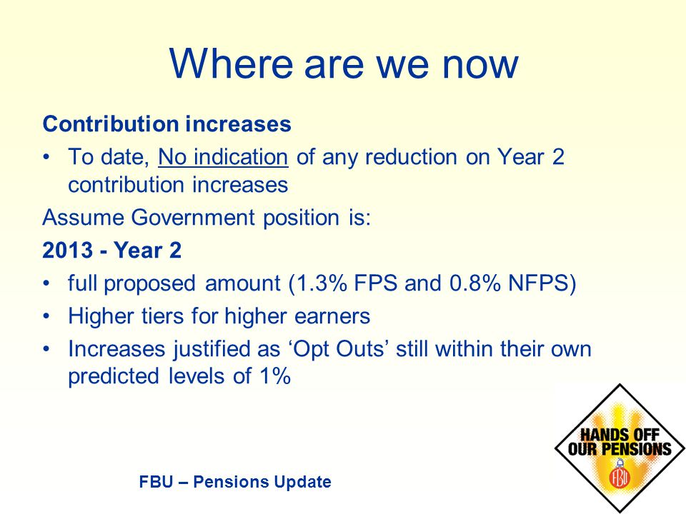 Where are we now Contribution increases To date, No indication of any reduction on Year 2 contribution increases Assume Government position is: 2013 - Year 2 full proposed amount (1.3% FPS and 0.8% NFPS) Higher tiers for higher earners Increases justified as 'Opt Outs' still within their own predicted levels of 1% FBU – Pensions Update