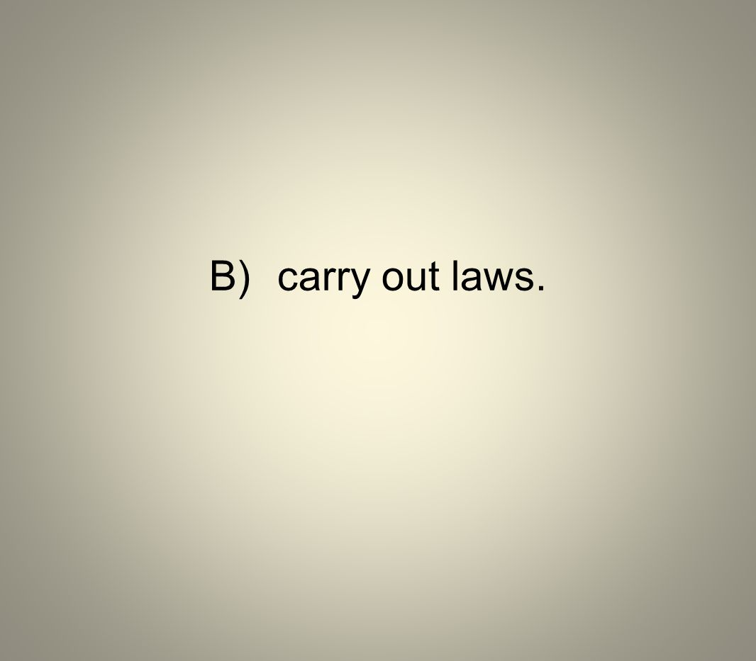 B)carry out laws.