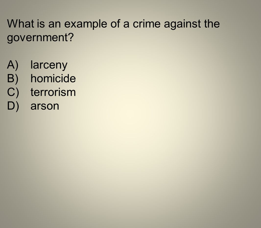 What is an example of a crime against the government? A)larceny B)homicide C)terrorism D)arson