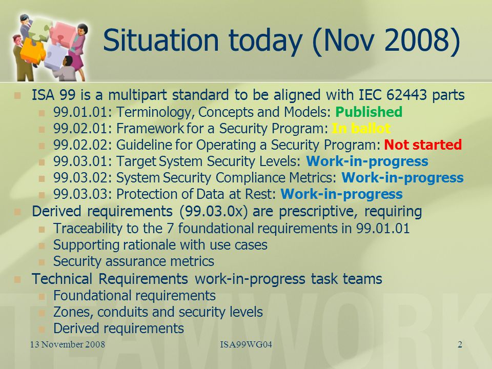 Maturity assessment Foundational Requirements Zones, Conduits and Security Levels Derived Requirements Team LeaderFreemon JohnsonRahul BhojaniKevin Staggs (Interim) Status of team composition Team in place Very weak participation Team in place Barely acceptable participation Very weak participation Status of work-in- progress Mapping to NIST 800 complete Need to document as an ISA TR Active discussion via weekly LiveMeetings/TELECONs Focus on Protection of Data at Rest Structure of release series in debate Prognosis for publication Ready for community review by end of 2008 Probably ready for by the end of 2009 99.03.03 ready by the end of 2009 Crystal ball projection for the rest - 2013 at best Long pole in the tentNone Security Metrics Use Cases Security Assurance Levels Security Metrics Allocation to subsystems & components Use Cases Security Metrics 13 November 20083ISA99WG04