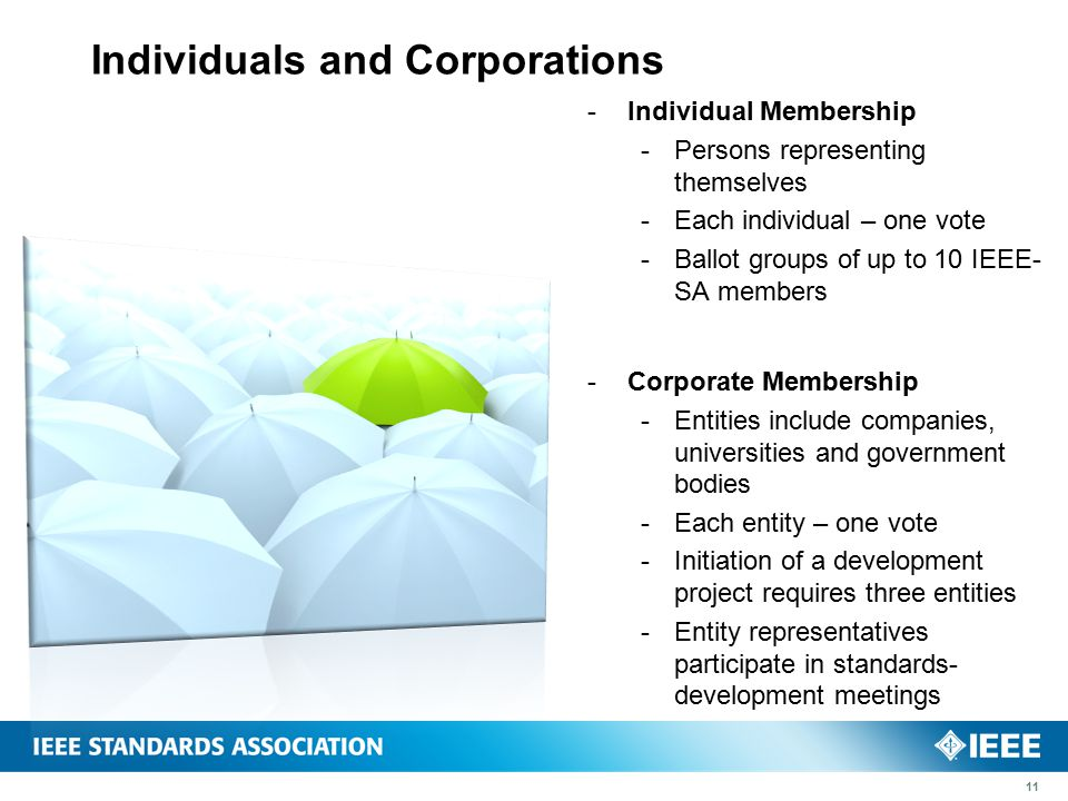 Individuals and Corporations  Individual Membership  Persons representing themselves  Each individual – one vote  Ballot groups of up to 10 IEEE- SA members  Corporate Membership  Entities include companies, universities and government bodies  Each entity – one vote  Initiation of a development project requires three entities  Entity representatives participate in standards- development meetings 11