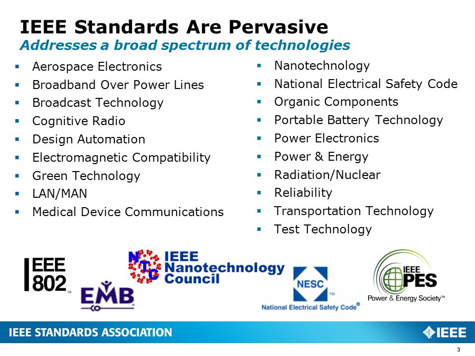 IEEE Standards Are Pervasive Addresses a broad spectrum of technologies  Aerospace Electronics  Broadband Over Power Lines  Broadcast Technology  Cognitive Radio  Design Automation  Electromagnetic Compatibility  Green Technology  LAN/MAN  Medical Device Communications  Nanotechnology  National Electrical Safety Code  Organic Components  Portable Battery Technology  Power Electronics  Power & Energy  Radiation/Nuclear  Reliability  Transportation Technology  Test Technology 3