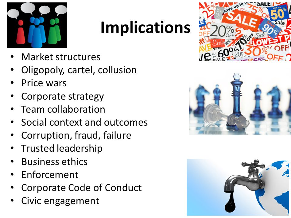 Implications Market structures Oligopoly, cartel, collusion Price wars Corporate strategy Team collaboration Social context and outcomes Corruption, f