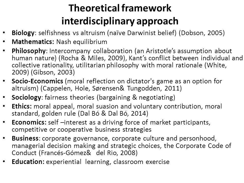 Theoretical framework interdisciplinary approach Biology: selfishness vs altruism (naïve Darwinist belief) (Dobson, 2005) Mathematics: Nash equilibriu
