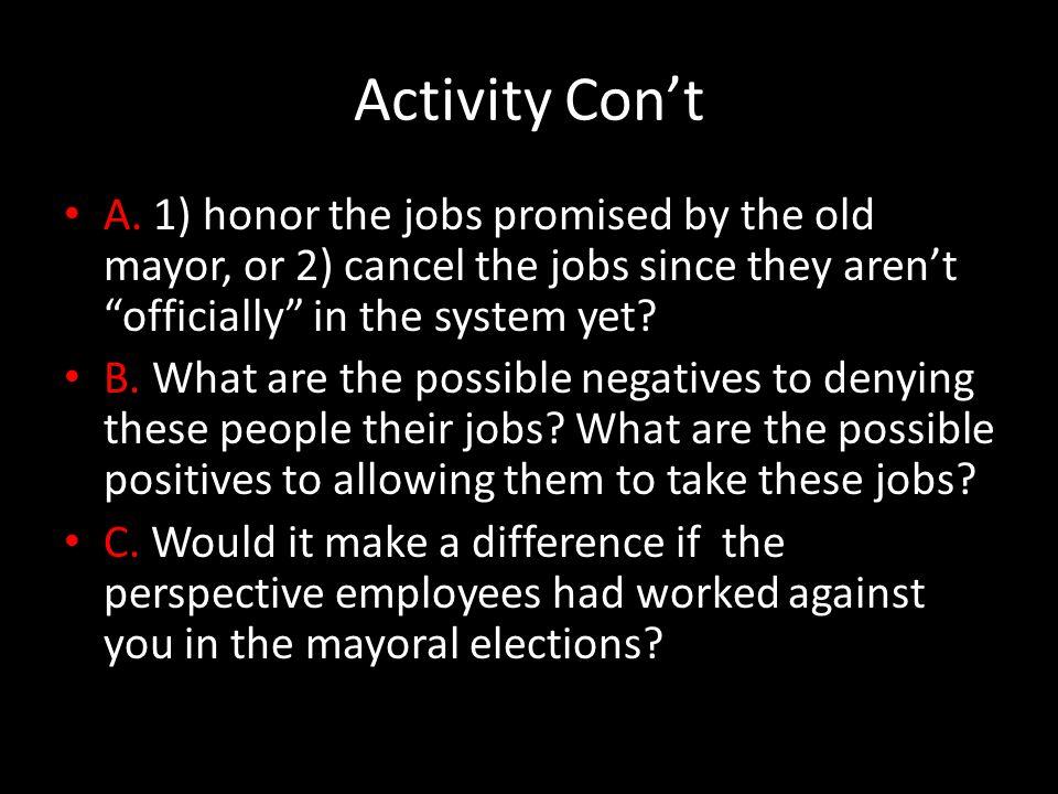 Activity Con't A.