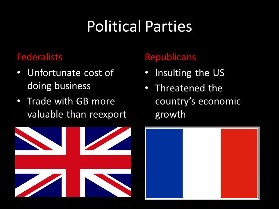 Political Parties Federalists Unfortunate cost of doing business Trade with GB more valuable than reexport Republicans Insulting the US Threatened the country's economic growth