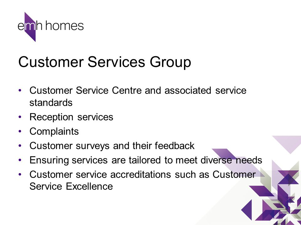 Customer Services Group Customer Service Centre and associated service standards Reception services Complaints Customer surveys and their feedback Ens