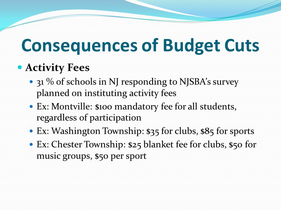 Consequences of Budget Cuts Activity Fees 31 % of schools in NJ responding to NJSBA's survey planned on instituting activity fees Ex: Montville: $100 mandatory fee for all students, regardless of participation Ex: Washington Township: $35 for clubs, $85 for sports Ex: Chester Township: $25 blanket fee for clubs, $50 for music groups, $50 per sport