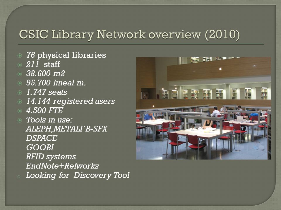  76 physical libraries  211 staff  38.600 m2  95.700 lineal m.