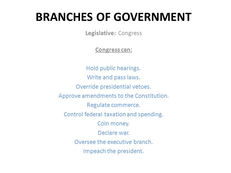BRANCHES OF GOVERNMENT Executive:: President, Vice President, Cabinet The President can: Negotiate treaties.