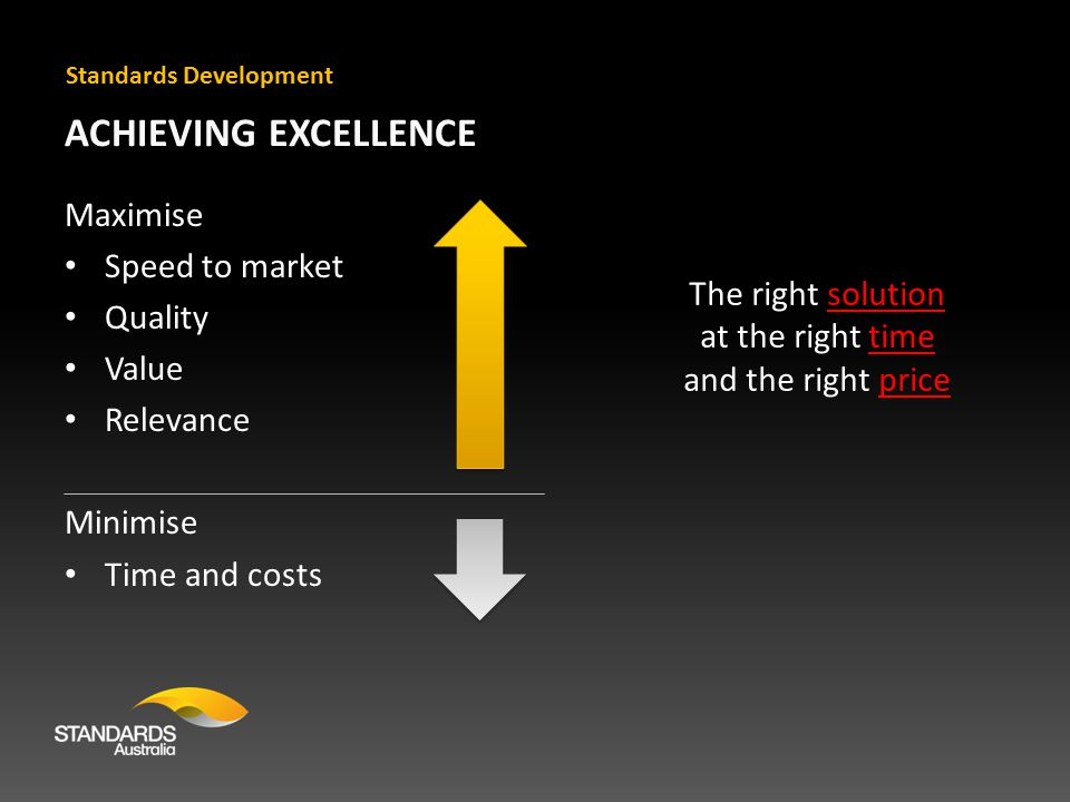 ACHIEVING EXCELLENCE Maximise Speed to market Quality Value Relevance Minimise Time and costs Standards Development The right solution at the right time and the right price
