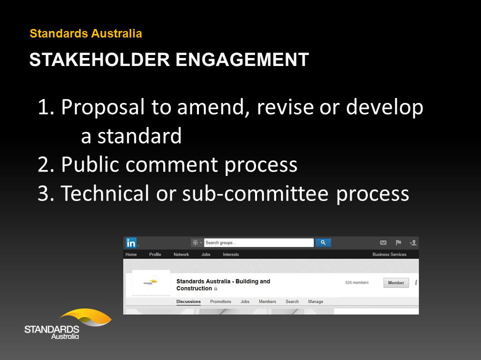 STAKEHOLDER ENGAGEMENT Standards Australia 1. Proposal to amend, revise or develop a standard 2.