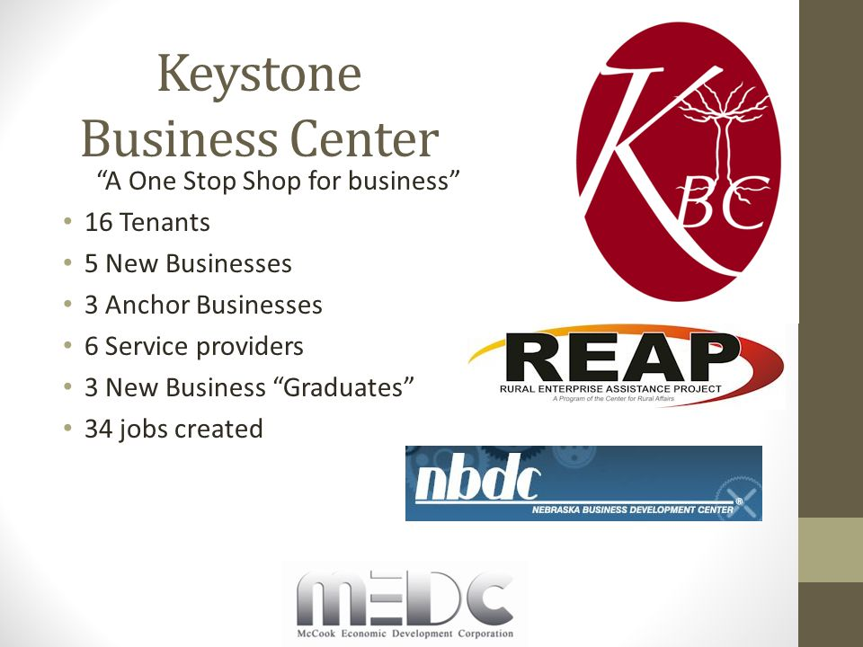 Keystone Business Center A One Stop Shop for business 16 Tenants 5 New Businesses 3 Anchor Businesses 6 Service providers 3 New Business Graduates 34 jobs created