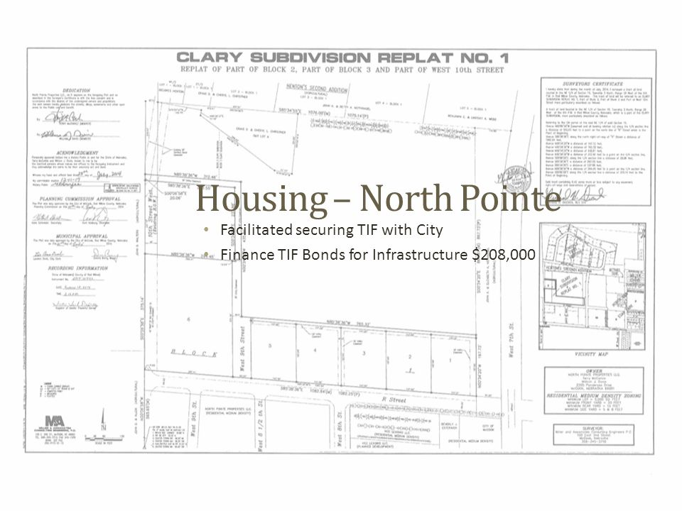 Housing – North Pointe Facilitated securing TIF with City Finance TIF Bonds for Infrastructure $208,000