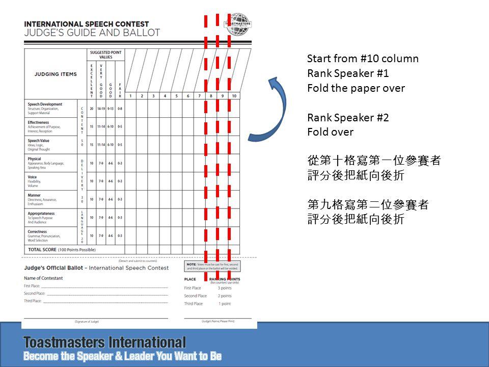 Start from #10 column Rank Speaker #1 Fold the paper over Rank Speaker #2 Fold over 從第十格寫第一位參賽者 評分後把紙向後折 第九格寫第二位參賽者 評分後把紙向後折