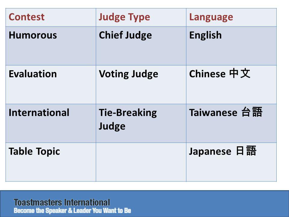 ContestJudge TypeLanguage HumorousChief JudgeEnglish EvaluationVoting Judge Chinese 中文 InternationalTie-Breaking Judge Taiwanese 台語 Table Topic Japanese 日語