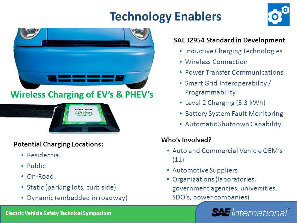 SAE J2954 Standard in Development Inductive Charging Technologies Wireless Connection Power Transfer Communications Smart Grid Interoperability / Prog