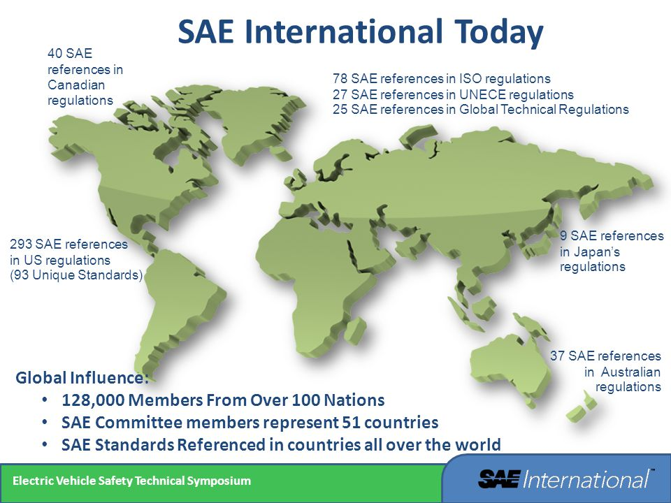 SAE International Today Global Influence: 128,000 Members From Over 100 Nations SAE Committee members represent 51 countries SAE Standards Referenced