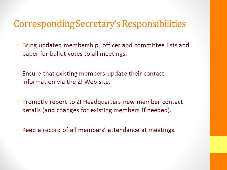 The Role & Responsibilities of the Corresponding Secretary