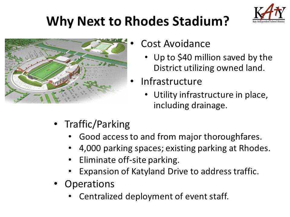 Why Next to Rhodes Stadium.