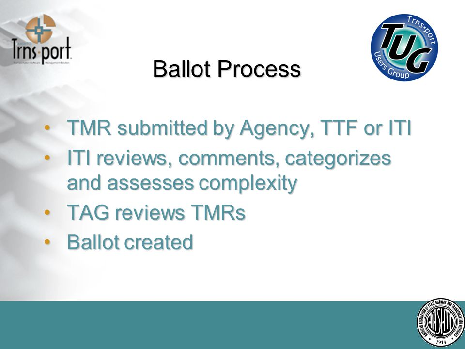 Voting Results It is up to the Trnsport Users Group to let the TTF know which enhancements are important to us.