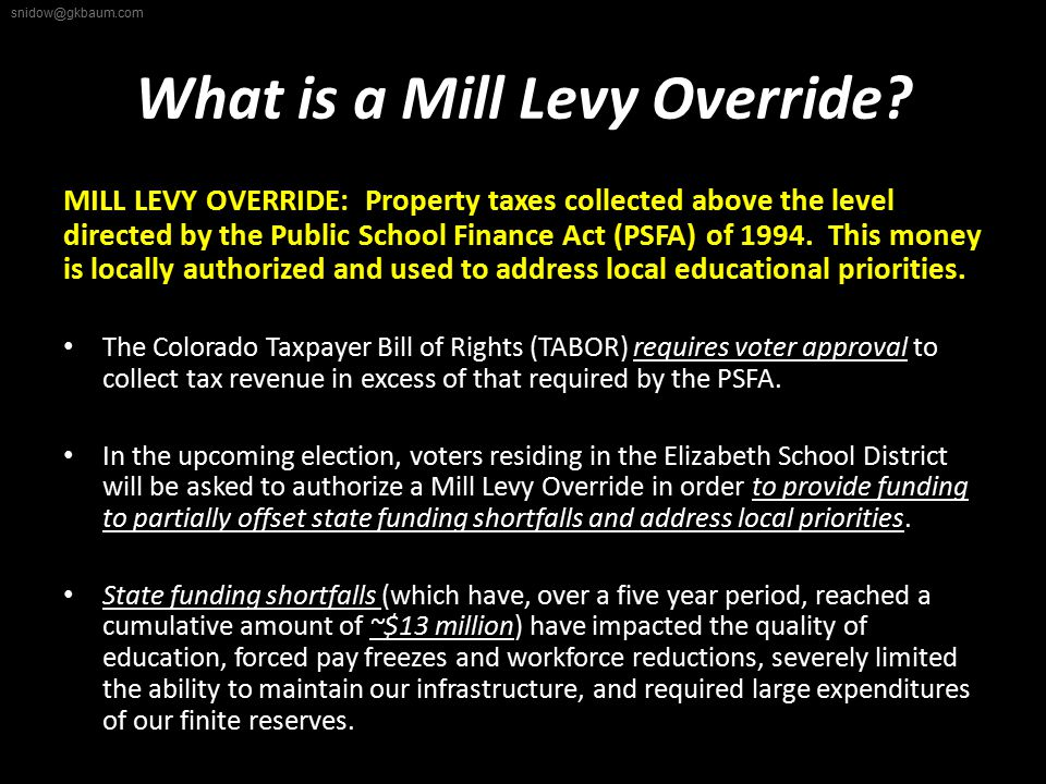 What is a Mill Levy Override.