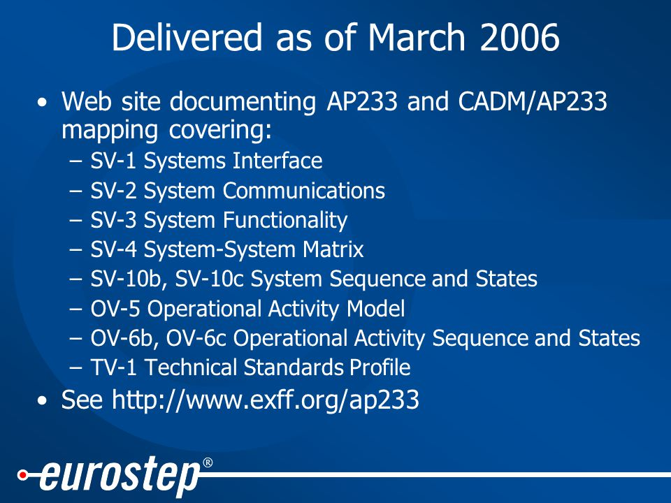 ® Delivered as of March 2006 Web site documenting AP233 and CADM/AP233 mapping covering: –SV-1 Systems Interface –SV-2 System Communications –SV-3 System Functionality –SV-4 System-System Matrix –SV-10b, SV-10c System Sequence and States –OV-5 Operational Activity Model –OV-6b, OV-6c Operational Activity Sequence and States –TV-1 Technical Standards Profile See http://www.exff.org/ap233