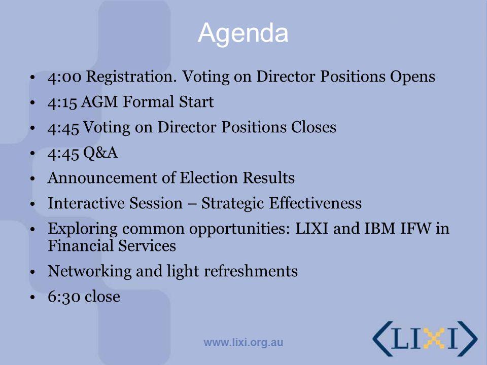 Agenda 4:00 Registration. Voting on Director Positions Opens 4:15 AGM Formal Start 4:45 Voting on Director Positions Closes 4:45 Q&A Announcement of E