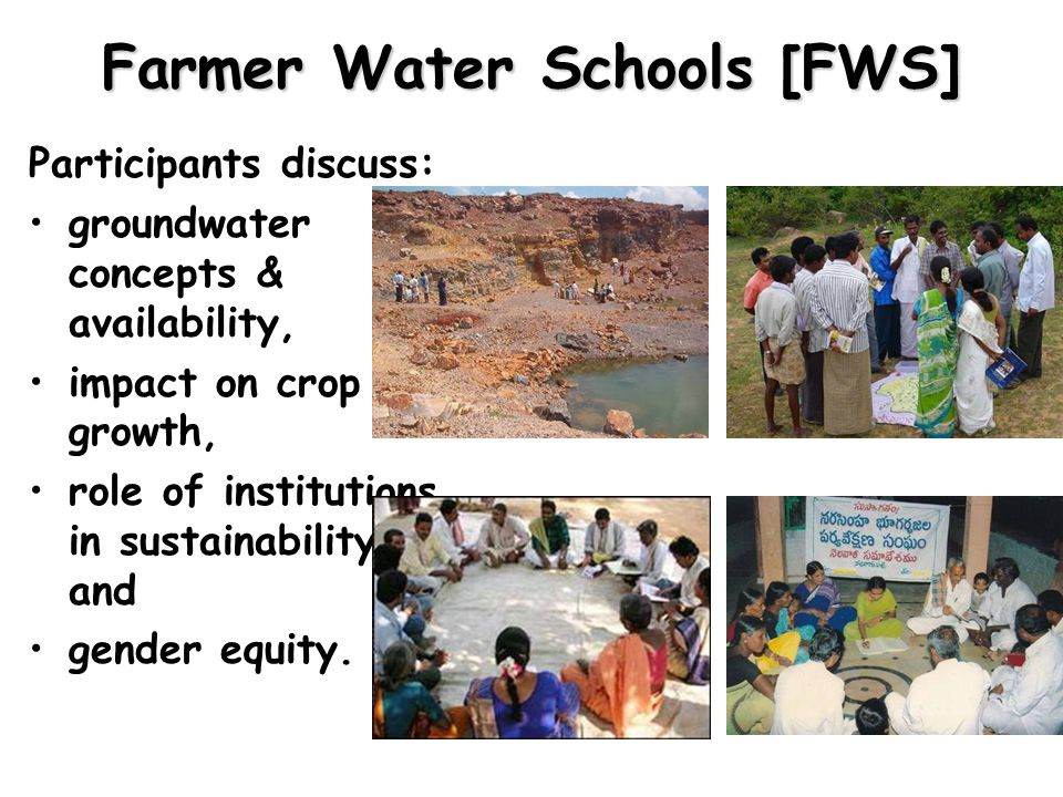 Farmer Water Schools [FWS] Participants discuss: groundwater concepts & availability, impact on crop growth, role of institutions in sustainability, and gender equity.
