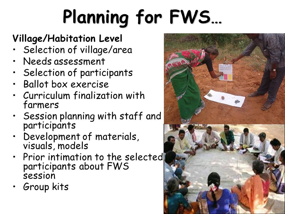 Village/Habitation Level Selection of village/area Needs assessment Selection of participants Ballot box exercise Curriculum finalization with farmers