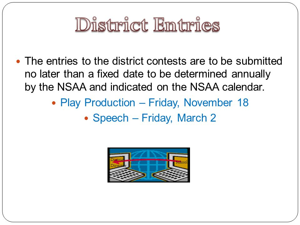 The entries to the district contests are to be submitted no later than a fixed date to be determined annually by the NSAA and indicated on the NSAA calendar.