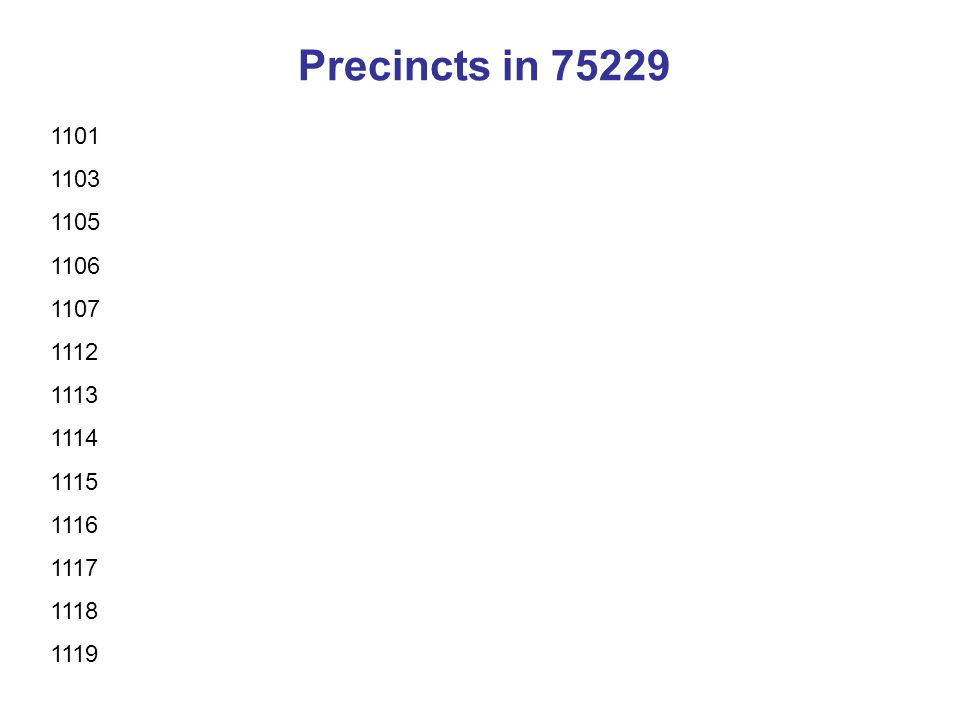 Precincts in 75229 1101 1103 1105 1106 1107 1112 1113 1114 1115 1116 1117 1118 1119