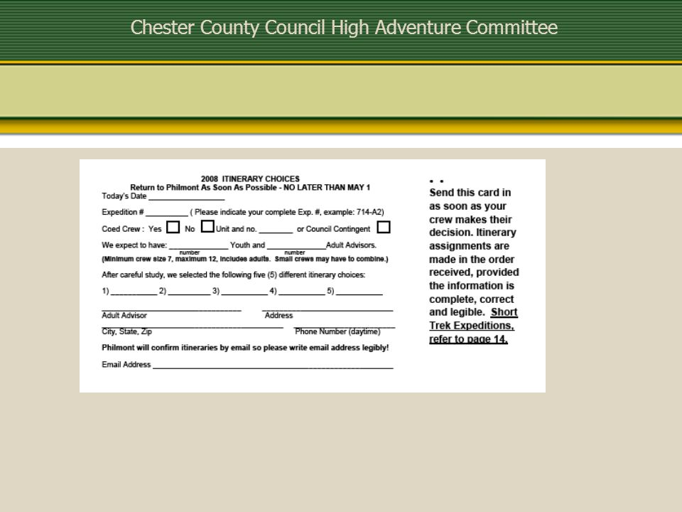 Chester County Council High Adventure Committee For 2009 Treks