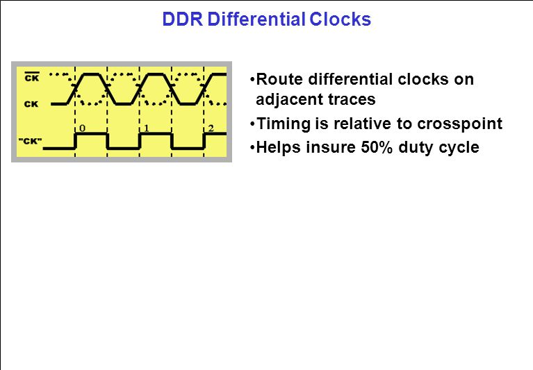 DDR Differential Clocks Route differential clocks on adjacent traces Timing is relative to crosspoint Helps insure 50% duty cycle