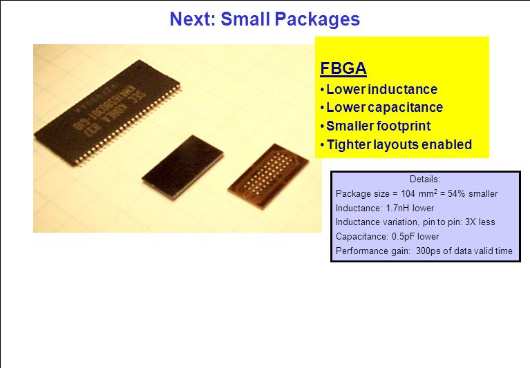 Next: Small Packages FBGA Lower inductance Lower capacitance Smaller footprint Tighter layouts enabled Details: Package size = 104 mm 2 = 54% smaller Inductance: 1.7nH lower Inductance variation, pin to pin: 3X less Capacitance: 0.5pF lower Performance gain: 300ps of data valid time