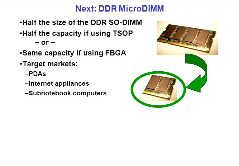 Next: DDR MicroDIMM Half the size of the DDR SO-DIMM Half the capacity if using TSOP – or – Same capacity if using FBGA Target markets: –PDAs –Internet appliances –Subnotebook computers