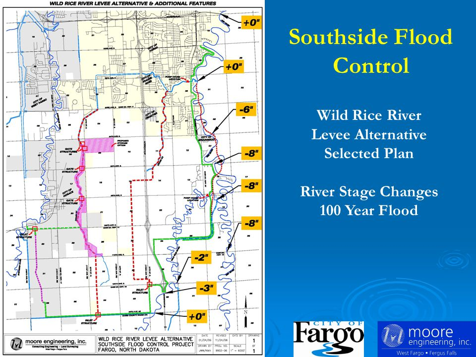 Wild Rice River Levee Alternative Selected Plan River Stage Changes 100 Year Flood Southside Flood Control