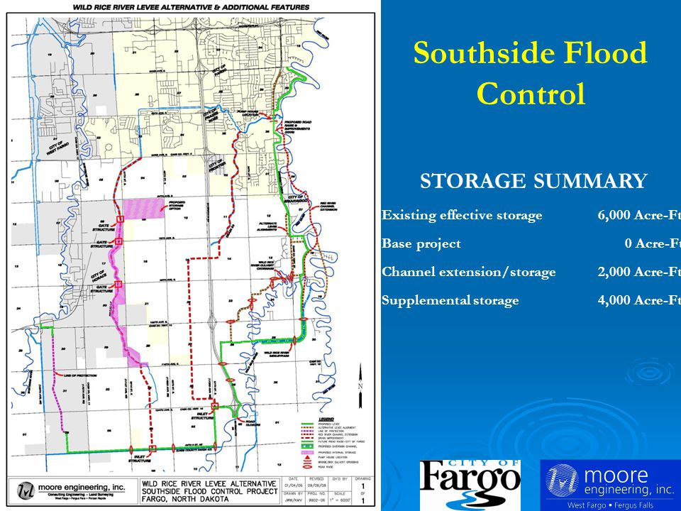 STORAGE SUMMARY Existing effective storage 6,000 Acre-Ft Base project 0 Acre-Ft Channel extension/storage 2,000 Acre-Ft Supplemental storage 4,000 Acre-Ft Southside Flood Control