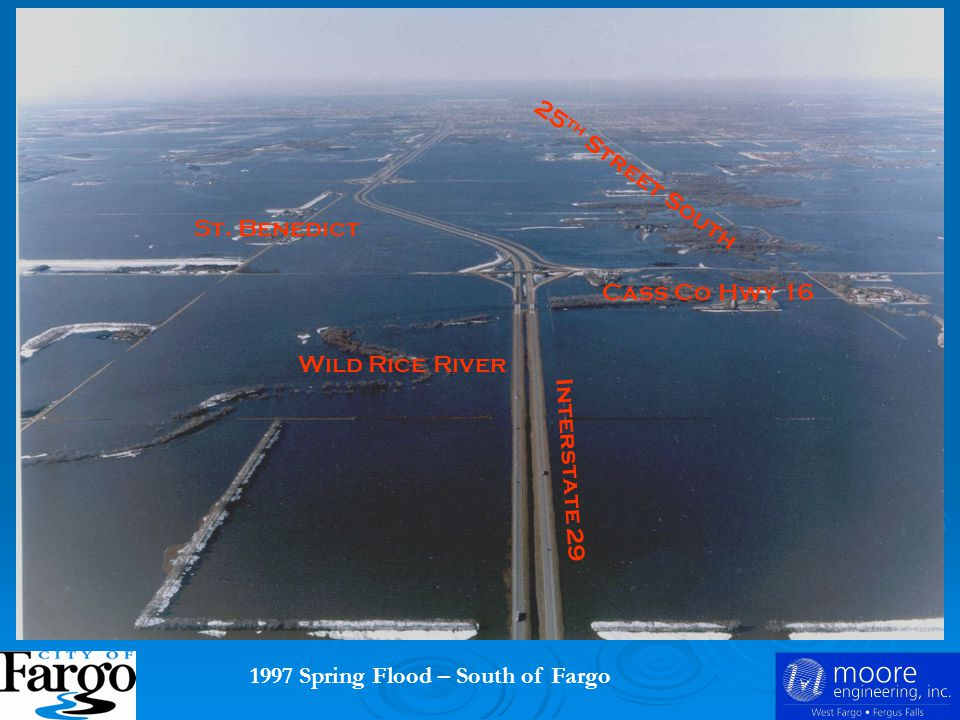1997 Spring Flood – South of Fargo Interstate 29 Wild Rice River 25 th Street South St.