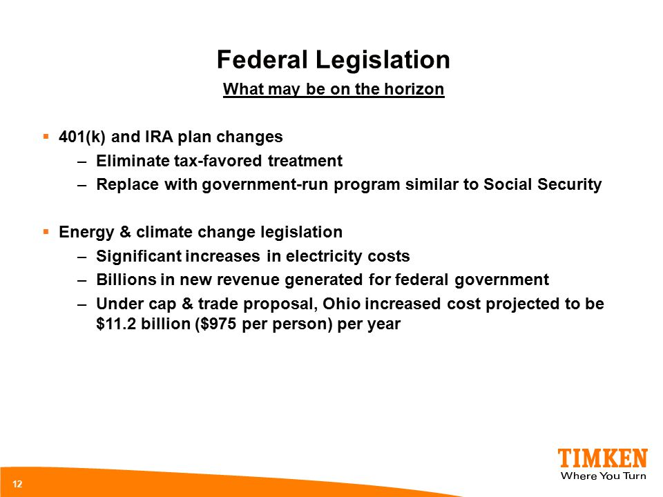 12 Federal Legislation What may be on the horizon  401(k) and IRA plan changes –Eliminate tax-favored treatment –Replace with government-run program