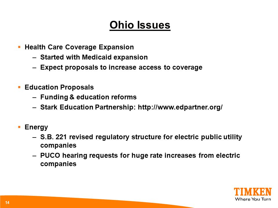 14 Ohio Issues  Health Care Coverage Expansion –Started with Medicaid expansion –Expect proposals to increase access to coverage  Education Proposals –Funding & education reforms –Stark Education Partnership: http://www.edpartner.org/  Energy –S.B.
