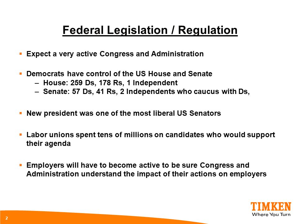2 Federal Legislation / Regulation  Expect a very active Congress and Administration  Democrats have control of the US House and Senate –House: 259