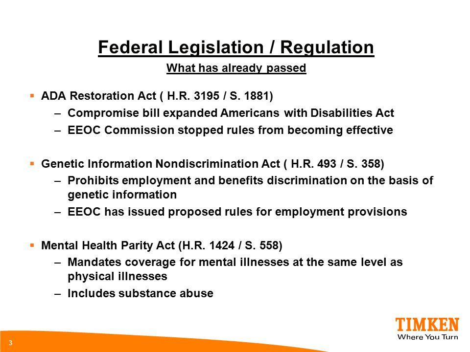 3 Federal Legislation / Regulation What has already passed  ADA Restoration Act ( H.R.
