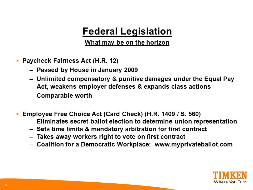 8 Federal Legislation What may be on the horizon  Paycheck Fairness Act (H.R. 12) –Passed by House in January 2009 –Unlimited compensatory & punitive